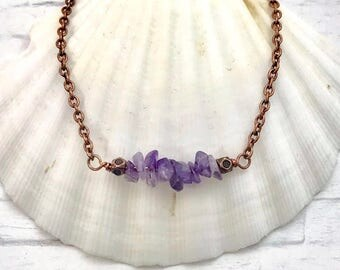 birthstone necklace, amethyst necklace, February birthday necklace, handmade jewelry, birthstone gift, birthday gift