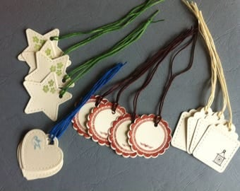 set of 16 pretty gift tags, cardstock - tags
