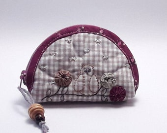 Women's purse with zip, coin purse in checked fabric with embroidery, coin purses Gufetto, purse zakka style, wallet with zipper