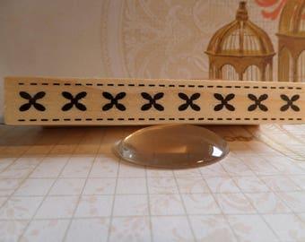 Stamp wood rectangular small crosses