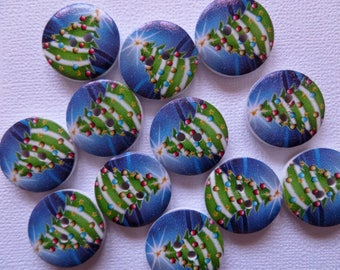 Set of 12 wooden lighted Christmas tree buttons
