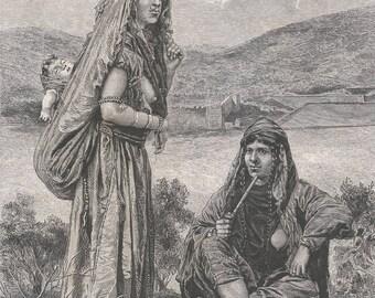Bedouin Ta'amirah, Palestine 1881 - Old Antique Vintage Engraving Art Print - Women, Sitting, Standing, Baby, Jewelry, Ornamental, Thobe