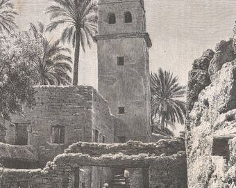 Algeria 1881, Mosque of Sidi Mohhammed, Old Antique Vintage Engraving Art Print, Buildings, Trees, Man, Mosque, Windows, Entrance, Stone