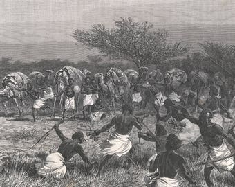 Somalia 1889, Passage of Lafole, attack of the convoy, Old Antique Vintage Engraving Art Print, Man, Warrior, Fighting, Battle, Weapon, Bow