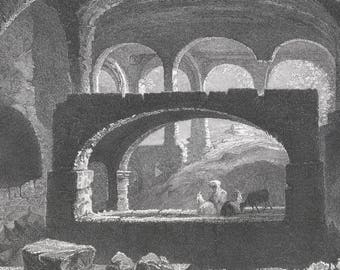 Syria 1841, Sepulchre at Seleucia, Old Antique Vintage Engraving Art Print, Interior, Massive, Arch, Structure, Dark, Man, Goat, Sitting
