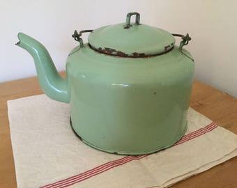 Green enamelware coffee pot