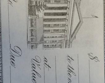 Beautiful Vintage Unused Promissory Note | Capitol Building