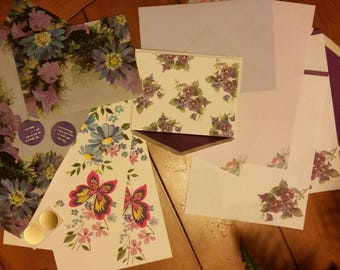 Vintage Stationery Collection ~ Blue and Purple Flowers Lot