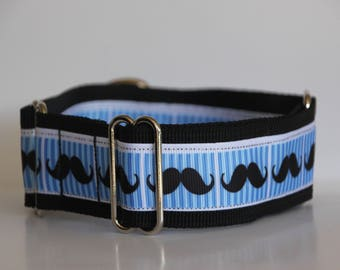 "Whippet - Mr Moustache 1.5"" Martingale Collar"