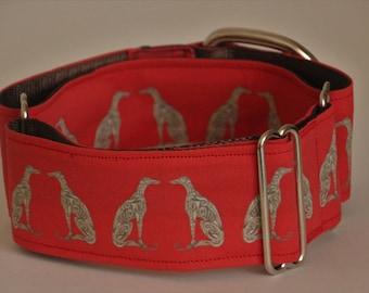 """Greyhound - Greyhounds on dark orange 2"""" Martingale Collar"""