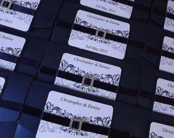 1 x Pocketfold sample Wedding Invitations buckle & Ribbon