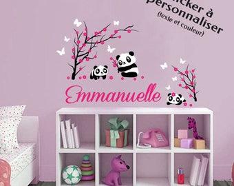"""Sticker mural personnalisable """"Pandas"""" - texte et coloris personnalisable - pour décoration originale chambre d'enfant Fille ou garçon"""