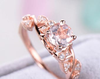 Round Cut Pink Morganite Engagement Ring Rose Gold Sterling Silver CZ Diamond Antique Wedding Ring Unique Milgrain Anniversary Gift Vintage