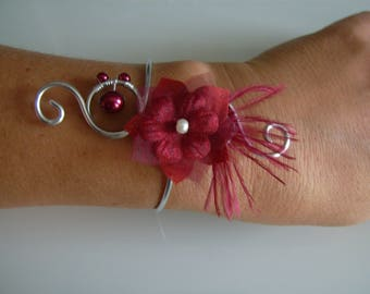 Bracelet Burgundy/Red/ivory/cream/Ecru/Beige silver p dress of bride/wedding/party/ceremony/cocktail flower/beads/feathers (cheap)