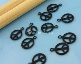 "Prints 10 ""Peace & Love"" - black - Diam 6.20 mm # T82"