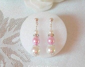 Pink Rhinestone and white Victoria wedding earrings