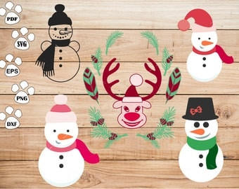 Snowman Clipart , Christmas Reindeer Svg, cricut, cameo, silhouette cut files commercial & personal use