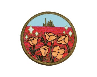 Wizard of Oz Poppy Field embroidered iron-on patch
