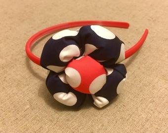 Girl headband , flower headband,polka dot headband