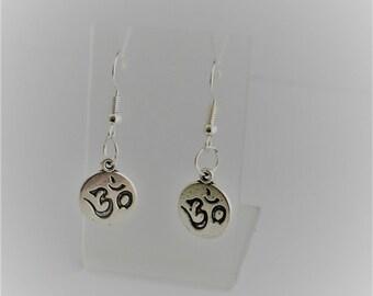yoga earrings , ohm tag earrings, silver earrings, yoga lover gift