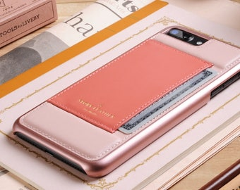 Leather Phone Case for Apple iPhone 7 Plus / 8 Plus  - Genuine Leather Case With Pocket for Credit Card in Peach / Pink - Small Gift for Her