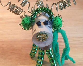 Wine Cork Deer / Reindeer - green scarf / earmuffs