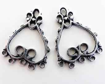 Lot de 2 Connecteurs coeurs métal argenté - création bijoux -23 x 20 mm-  boucles d'oreilles
