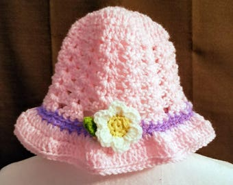 Little girl crochet easter/beach/sun hat ages 3 to 6 handmade