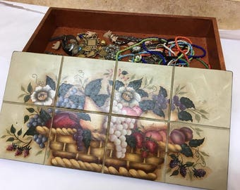 Hand-Painted Jewelry Box with Removable Top and Pedestal Legs (Signed/2000)