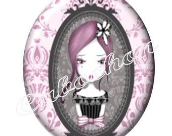 2 cabochons 25mm x 18mm glass, little girl