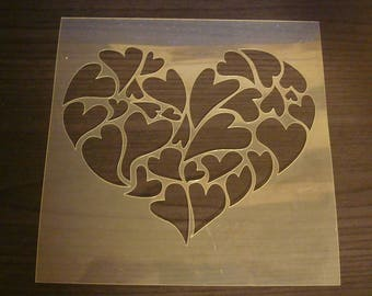 Stencil heart P0153 pages, cards, scrapbooking embellishment walls, decoration