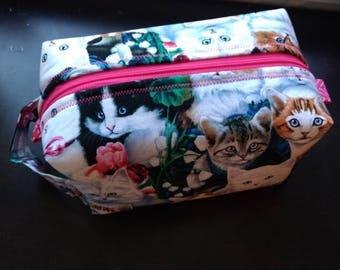 Kitten cat print bag, makeup bag, cosmetic bag, storage bag, toiletry bag
