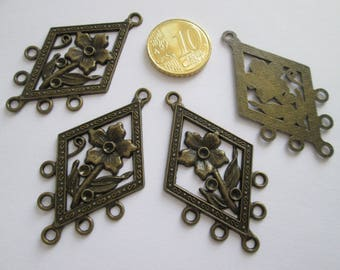 4 connecteur losange artdeco en métal couleur bronze 49 X 28 mm