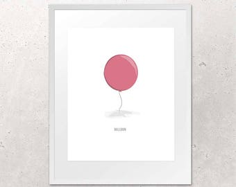 Red Balloon Wall Art, Cute Home Decoration, Color Digital File for Print