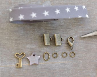 Ribbon bracelet Kit stars, mother of Pearl and bronze charms