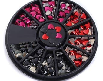 x 1 black carousel + 300 mixed 4 mm metal heart rhinestones