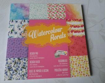 x 1 bloc de 30 feuilles papier scrapbooking à motif divers 15 x 15 cm