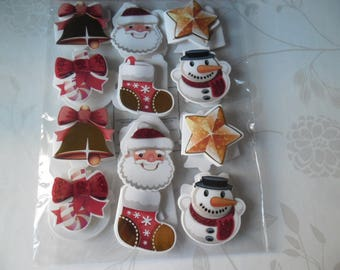 24 stickers embellishments x tags Christmas patterned 5 x 4.5 cm