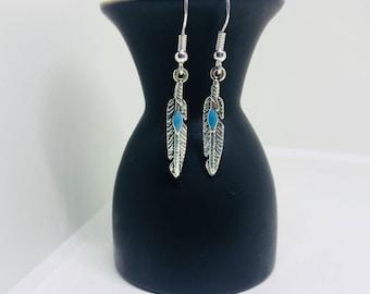 Turquoise feather earrings | Feather earrings | Silver earrings | Silver feather earrings | Silver feather dangle drop earrings | Earrings |