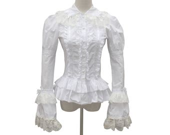 Victorian Vintage Lolita White Cotton Lace Blouse Renaissance Witch Ghost Steampunk Halloween Shirt with Cape