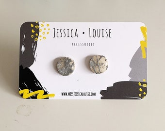Silver Paint Spattered Clay Studs / White & Silver Studs / Handmade Earrings / Handmade Resin Studs / Resin Paint Spatter Studs
