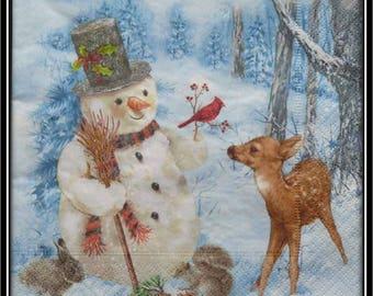 Deer and snowman snow paper towel