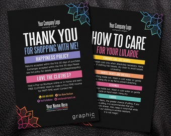 Thank You Cards, Free Fast Personalization, Home Office Approved, Happiness Policy, LLR Return Policy, Care Card, For fashion consultant