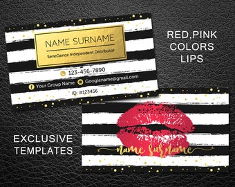 LipSense business card, SeneGence business card, Custom LipSense business cards, LipSense Distributor, makeup swatches business card, LSBCG1