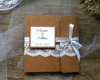 Kraft, lace and white satin ribbon personalised wedding invitation