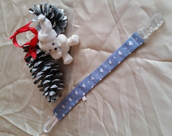 Pacifier clip in grey fabric small white heart