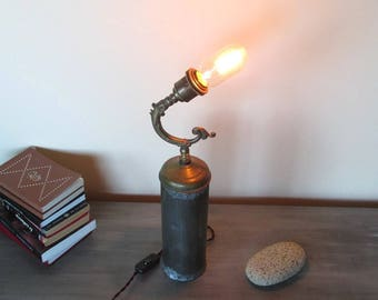 old vintage antique hijacked and recycled gift home heating lamp