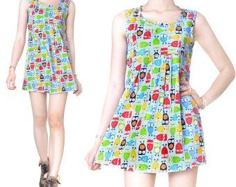 Short dress Babydoll cotton print (M49)