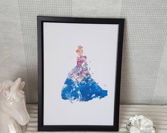 Cinderella Watercolour Print - A4