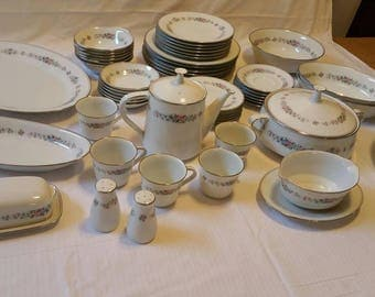 Vintage Cynthia by Noritake China, Setting for Six (6), Fifty-six  (56) Pieces. BEAUTIFUL!
